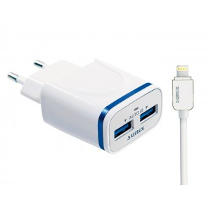 SUNIX- S-209 - DUAL HOME 2Port USB - inkl. IOS KABEL - 2.1A